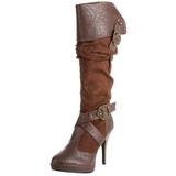 Bruin 11,5 cm CARRIBEAN-216 plateau laarzen dames met gespen