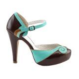 Bruin 11,5 cm retro vintage BETTIE-17 Pinup pumps schoenen met verborgen plateauzool