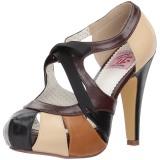 Bruin 11,5 cm retro vintage BETTIE-19 damesschoenen met hoge hak