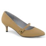 Bruin Kunstleer 6,5 cm KITTEN-03 grote maten pumps schoenen