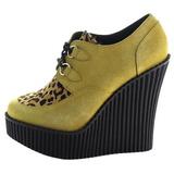 Bruin Kunstleer CREEPER-304 wedge creepers schoenen sleehakken