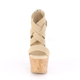 Bruin band 16,5 cm BEAU-669 wedge sandalen met kurk sleehak