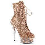 Bruin glitter 15 cm DELIGHT-1020G dames enkellaarsjes met plateauzool