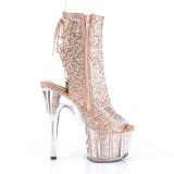 Bruin glitter 18 cm ADORE-1018G dames enkellaarsjes met plateauzool