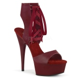 Burgundy Leatherette 15 cm DELIGHT-600-14 platform pleaser sandals