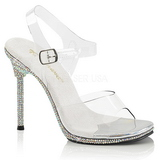 Clear 11,5 cm CHIC-08DM Rhinestones Heeled Evening Sandals