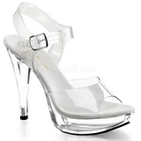 Clear 13 cm COCKTAIL-508 Acrylic Platform High Heeled Sandal