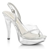 Clear 13 cm COCKTAIL-556 Acrylic Platform High Heeled Sandal