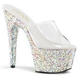 Clear 18 cm BEJEWELED-701MR Glittering Stones Platform Mules Shoes