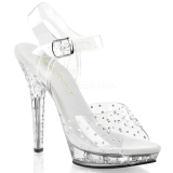 Clear Rhinestone 13 cm LIP-108RS Acrylic Platform High Heeled Sandal