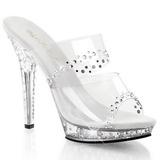 Clear Rhinestone Platform 13 cm LIP-102RS Women Mules Shoes