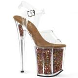 Copper 20 cm FLAMINGO-808GF glitter platform high heels shoes