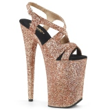 Copper 23 cm INFINITY-930LG glitter platform high heels shoes