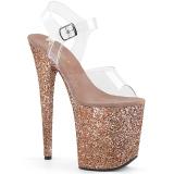 Copper Glitter 20 cm FLAMINGO-808LG Platform High Heeled Sandal Shoes