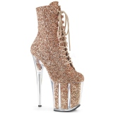 Copper glitter 20 cm FLAMINGO-1020G Pole dancing ankle boots