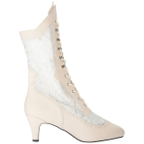 Cream Leatherette 7,5 cm DIVINE-1050 big size ankle boots womens