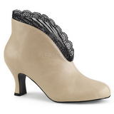 Cream Leatherette 7,5 cm JENNA-105 big size ankle boots womens