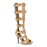 Creme 11,5 cm GLADIATOR-208 lange kniehoge gladiator sandalen dames