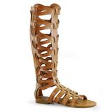 Creme ATHENA-200 lange kniehoge gladiator sandalen dames