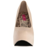 Creme Kunstleer 14,5 cm Burlesque TEEZE-06W mannen pumps voor brede voeten