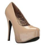 Creme Lakleer 14,5 cm Burlesque TEEZE-06W mannen pumps voor brede voeten