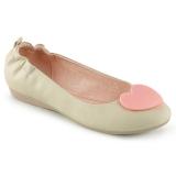 Creme OLIVE-05 ballerinas platte damesschoenen