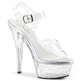 Doorzichtig 15 cm Pleaser KISS-208MMG glitter schoenen met hakken