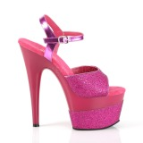 Fuchsia 18 cm ADORE-709-2G glitter plateau sandalen met hak