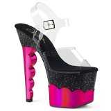 Fuchsia 18 cm SCALLOP-708-2HGM Hologram plateau schoenen dames met hak