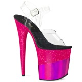 Fuchsia 20 cm FLAMINGO-808-2HGM glitter plateau sandalen met hak