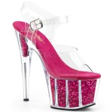 Fuchsia glitter 18 cm Pleaser ADORE-708G paaldans schoenen met hoge hakken
