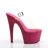 Fuchsia glitter 18 cm Pleaser ADORE-708LG paaldans schoenen met hoge hakken