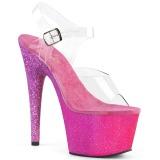 Fuchsia glitter 18 cm Pleaser ADORE-708OMBRE paaldans schoenen met hoge hakken