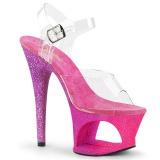 Fuchsia glitter 18 cm Pleaser MOON-708OMBRE paaldans schoenen met hoge hakken