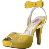 Geel 11,5 cm Pinup BETTIE-01 sandalen met naaldhak