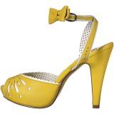 Geel 11,5 cm Pinup retro vintage BETTIE-01 sandalen met hoge hakken