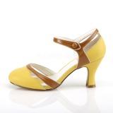 Geel 7,5 cm FLAPPER-27 Pinup pumps schoenen met lage hakken