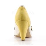 Geel 9,5 cm POPPY-18 Pinup pumps schoenen met lage hakken