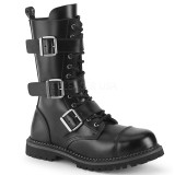 Genuine leather RIOT-12BK demonia boots - unisex combat boots