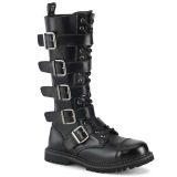 Genuine leather RIOT-18BK demonia boots - unisex steel toe combat boots