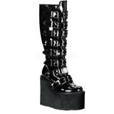 Glimmend 9 cm SWING-815 plateau laarzen dames met gespen