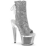 Glitter 18 cm SPECTATOR-1018G open teen platform boots met hak zilveren