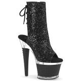 Glitter 18 cm SPECTATOR-1018G open teen platform boots met hak zwart