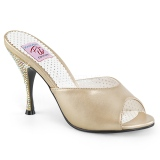 Gold 10,5 cm MONROE-05 Pinup Mules Shoes