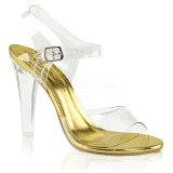 Gold 11,5 cm CLEARLY-408 High Heeled Evening Sandals