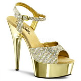 Gold 15 cm Pleaser DELIGHT-609G Chrome Platform High Heel