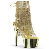 Gold 18 cm ADORE-1017RSF womens fringe ankle boots high heels