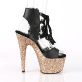 Gold 18 cm ADORE-700-14LG Glitter Platform High Heels Shoes