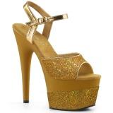 Gold 18 cm ADORE-709-2G glitter platform sandals shoes