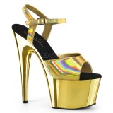 Gold 18 cm ADORE-709HGCH Hologram platform high heels shoes